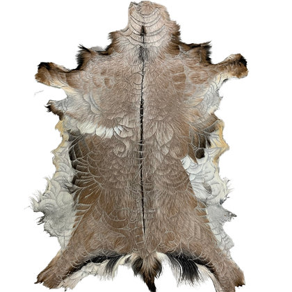 Goat Hide Rugs | Hand Carved Natural | 10292
