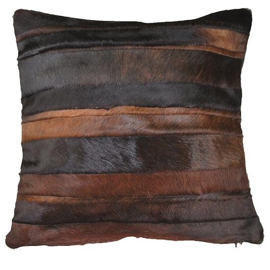 Cowhide Cushion | Stripes | Chocolate Brown