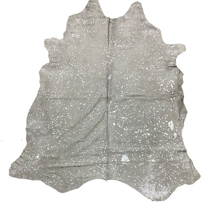 White Cowhide Rug | Silver Metallic Splash | 10022