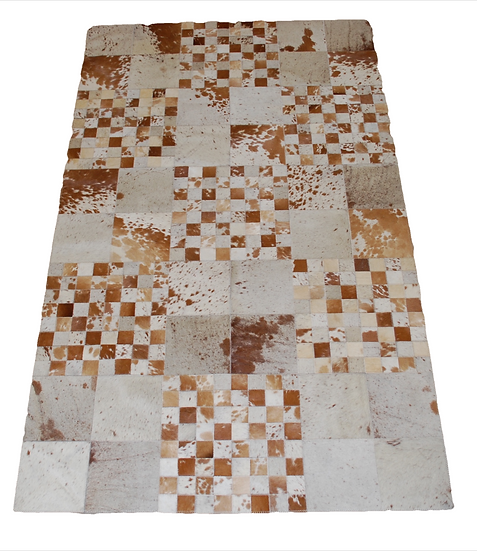 Patchwork Cowhide Rug | Natural Browns & White  120 x 200cm