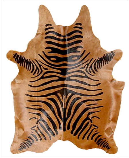 Zebra Printed Cowhide | Black on Caramel