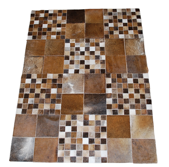 Patchwork Cowhide Rug | Natural Browns 120 x 160cm