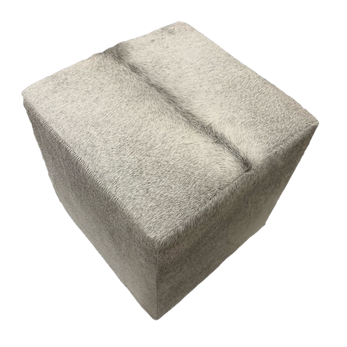 Cowhide Cube Ottoman | Natural Grey