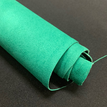 Lamb Suede with Black Stretch Material Backing   Emerald Green   1.2mm