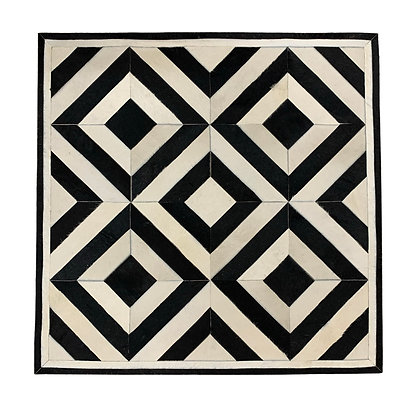 Patchwork Cowhide Rug | Black and White 90 x 90cm