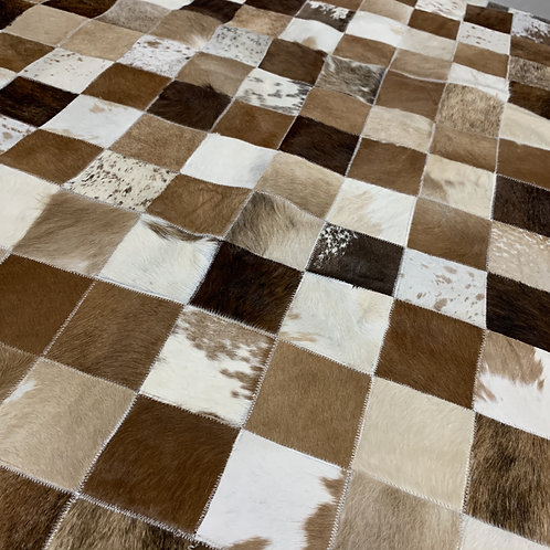 Natural Brown Patchwork Cowhide Rug