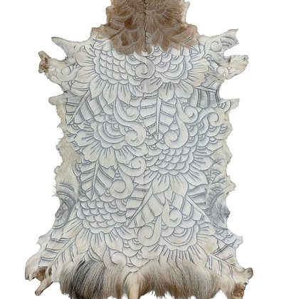 Goat Hide Rugs | Hand Carved Natural | 10281