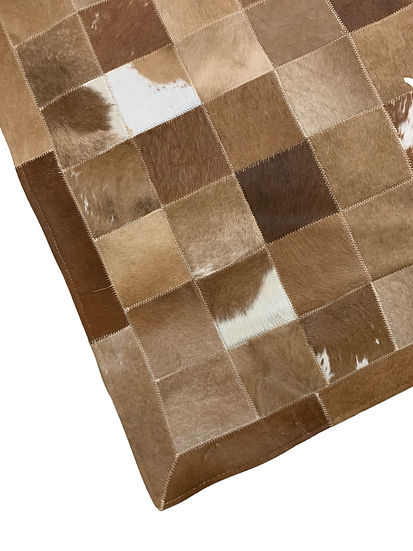 Patchwork Cowhide Rug | Brown and White  100 x 150cm