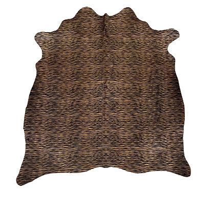 Mini Zebra Pattern Cowhide rug black on brown cowhide
