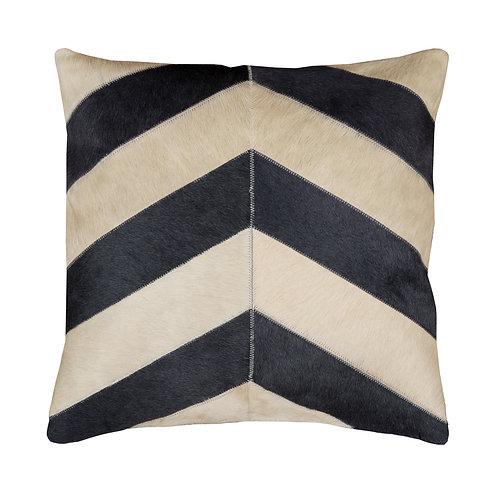 Cowhide Cushion | Grey and Cream Chevron | 50cm x 50cm