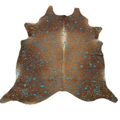 Devore acid wash cowhide rug turquoise on brown