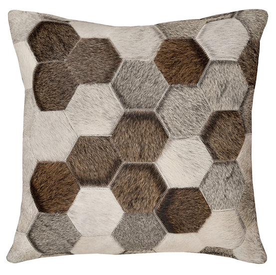 Cowhide Cushion | Natural Grey Hexagon | 50cm x 50cm