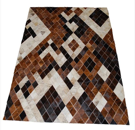 Panama Patchwork Cowhide Rug   Diamonds Design 160 x 220cm