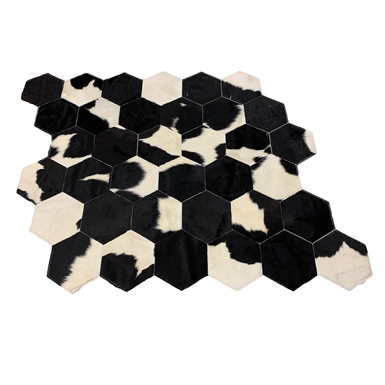 Patchwork Cowhide Rug, Hexagon Design