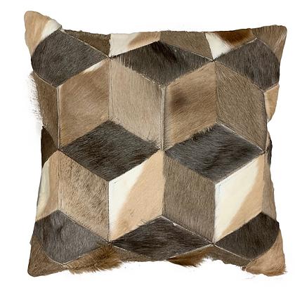 Mixed Gameskin Patchwork Cushion | Natural Beige | 50 x 50cm