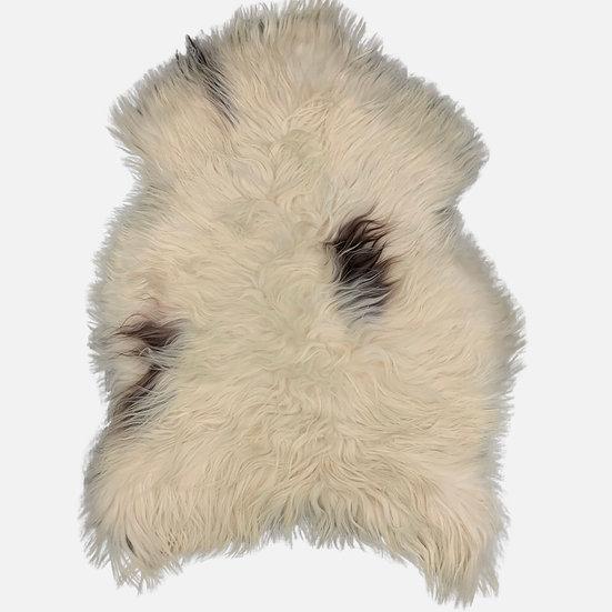 spotted Icelandic long-hair sheepskin rugs