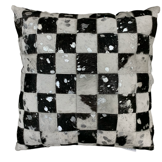 Cowhide Pillow | Black and White Silver Metallic | 45cm x 45cm