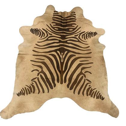 Zebra Printed Cowhide Rug Brown Stripes on Beige