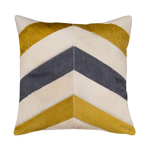 Cowhide Cushion | Grey, Gold and Cream Chevron | 50cm x 50cm