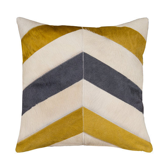 Cowhide Cushion | Grey, Gold and Cream Chevron | 50cm x 50cm