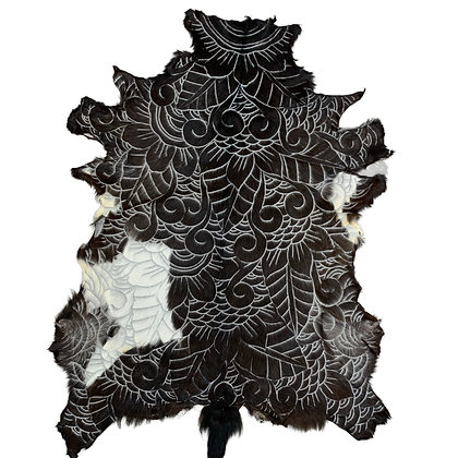 Goat Hide Rugs   Hand Carved Natural   10297