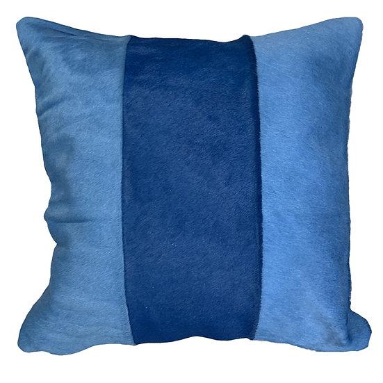 Cowhide Cushion   Tri Panel    Blues