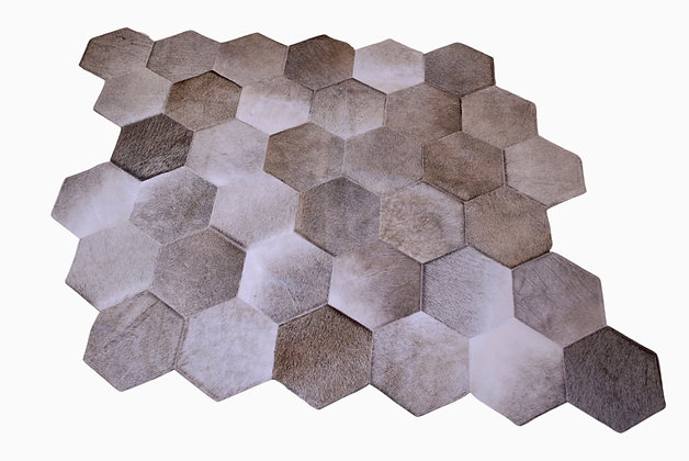 Quito Patchwork Cowhide Rug | Grey 140 x 150cm