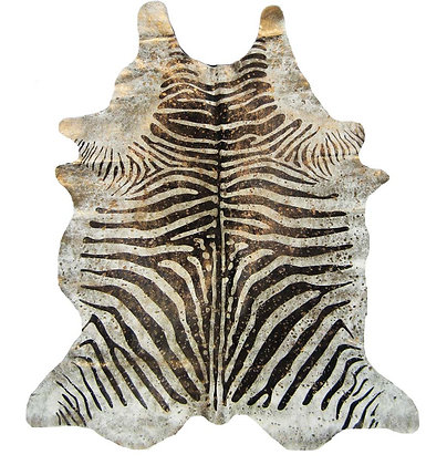 Zebra Cowhide Rug | Gold Metallic Splash