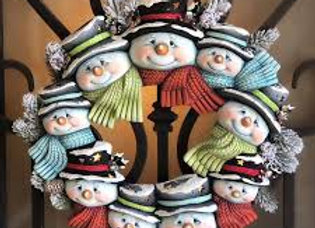 Snowman head wreath