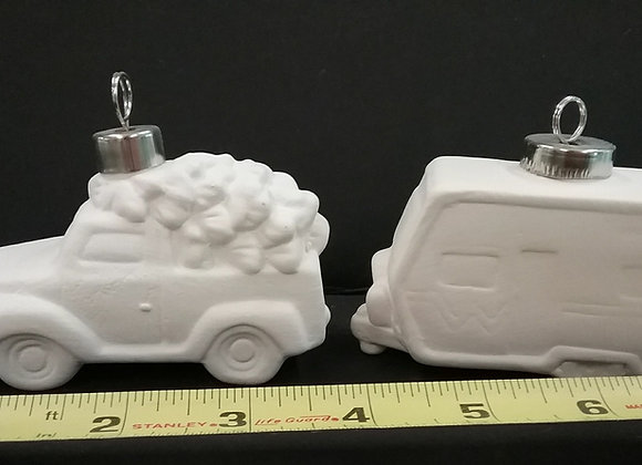 Truck and Camper Ornament Set