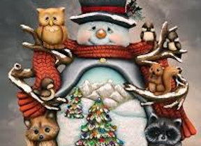 Woodland Snowman with animals