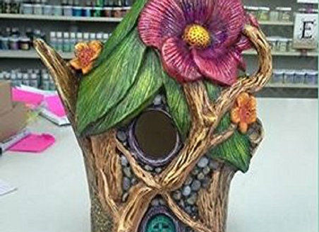 Fairyhouse Birdhouse- DH- Bisque