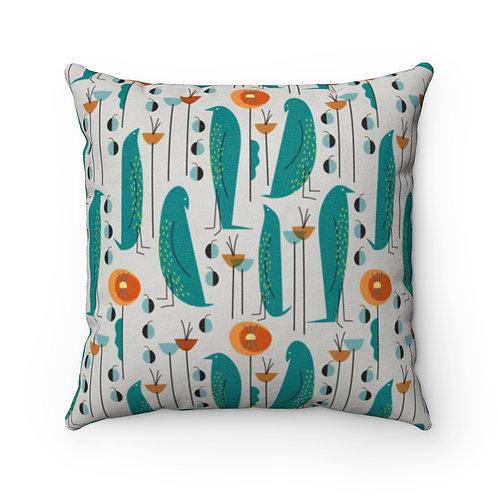 Mid Century Modern Bird Floral Faux Suede Pillow Case