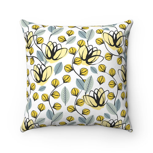 Buds and Flowers Polyester Square Pillow