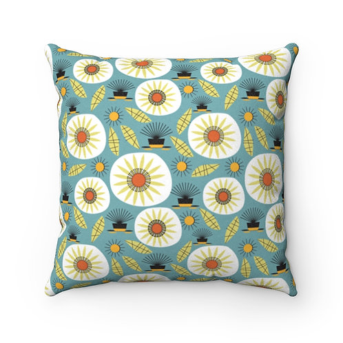 Mid Century Modern Gumweed Floral Faux Suede Pillow Case