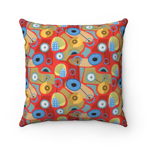 Mid Century Modern Thistle Polyester Square Pillow