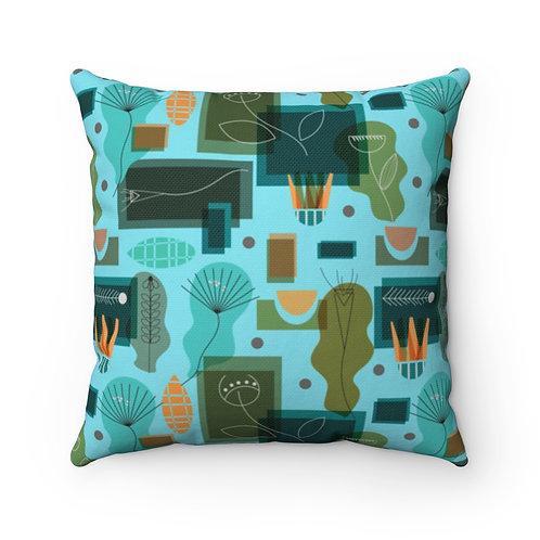 Mid Century Modern Garden Polyester Square Pillow