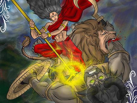 Битва Богини Дурги с демоном Махишасурой внутри рожденного в ХАСТЕ
