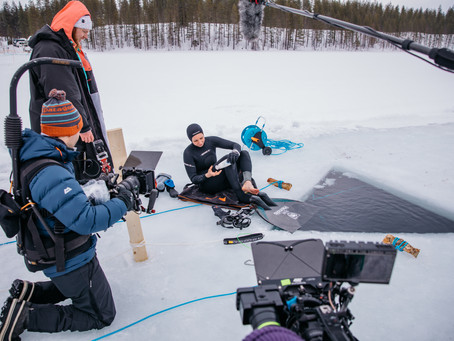 Filming for the documentary in Hossa after the World Record Dive
