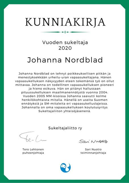Diver of the year 2020, Johanna Nordblad