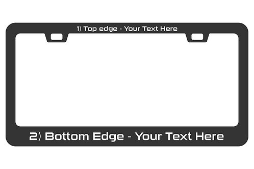 Customized laser etched matte black aluminum license plate frame