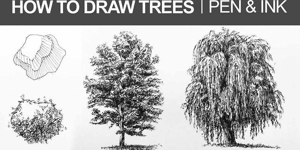 Art Lessons with Liz for Adults Pen & Ink Trees Please