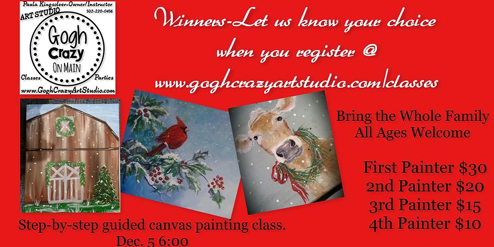 Christmas Canvas Painting-Your Choice Cow Barn Bird
