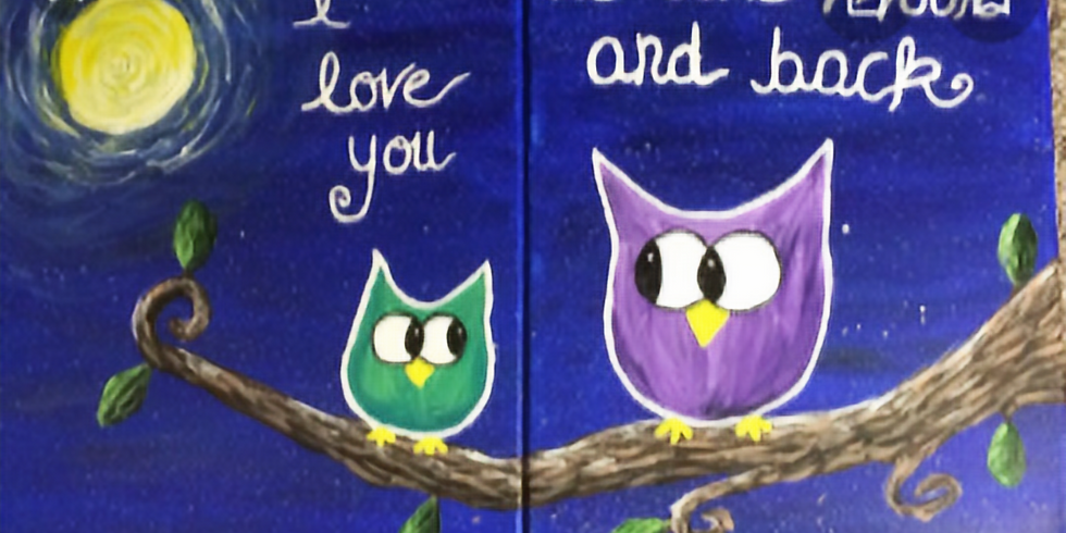 FAMILY Owl Canvas Painting Fundraiser Flying Angels Gym-All Welcome