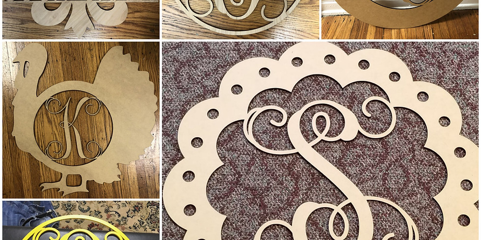 Customized Monogram Wooden Cutout Door Hanger Class