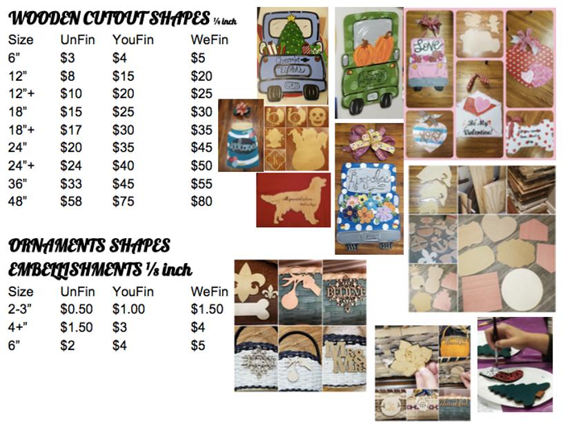 wooden shape cutouts price list gogh cra