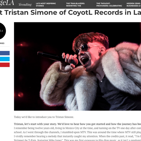 Bertinelli Sound featured on VoyageLA with Tristan Simone