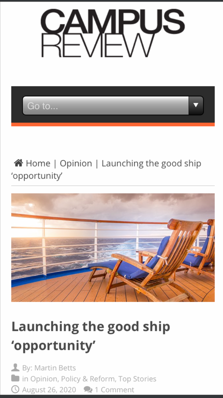 """Launching the good ship """"opportunity"""""""