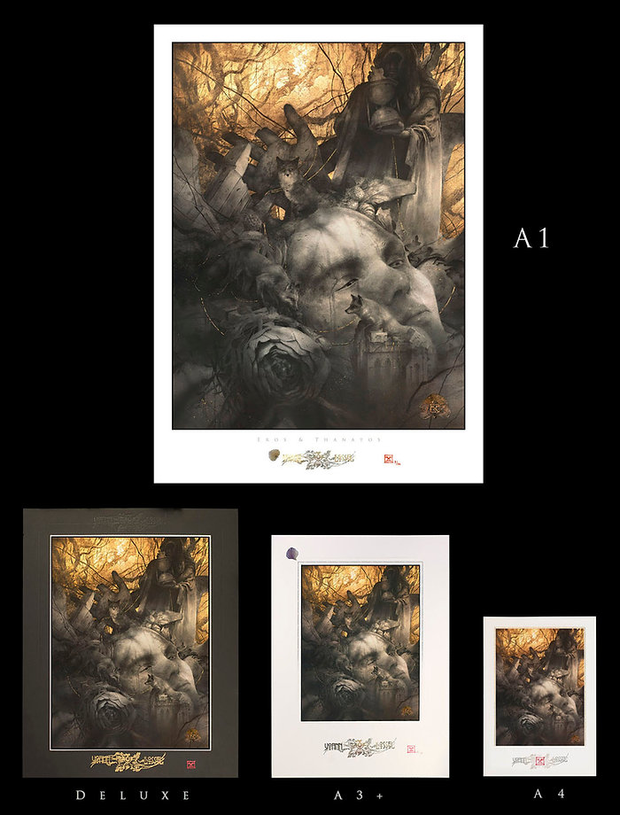 Edition of Fine Art Giclee Prints limited to 100 copies, gilded, embossed, signed and numbered.  The Giclee Print is printed with an Epson SC-P6000 with Epson long-life official inks, on Harman Matt Cotton Smooth paper by Hahnemühle, 300g/m², 100% cotton, a beautiful light paper with a matte finish and a deep black rendering. The print is protected by a UV-resistant Hahnemühle varnish.  Each print is embossed using an A2 intaglio press (an embossing is a printing technique allowing to obtain relief patterns on paper) : - a first embossing prints my signature at the bottom of the print - a second embossing prints a border, framing the central subject Each print is also hand-gilded with 24k gold leaf (on the emblem part), stamped by hand with a Turkish red ink, and numbered by hand in a limit of 100 copies.  For aesthetic considerations, I chose to sign by stamping, which I consider as my artist signature. Upon request, I may also sign by my handwritten signature.   The print is carefull