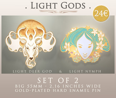 """LIGHT GODS"" ⭐ - Hard Enamel Pins - Big 55mm / 2.16 Inches Wide"
